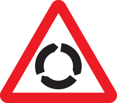 Roundabout warning sign