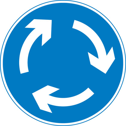 The mini roundabout sign